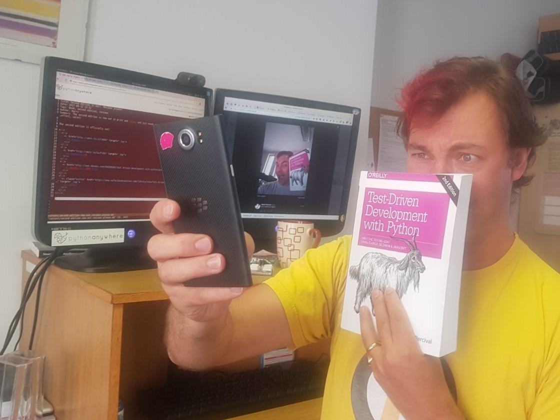 a picture of me attempting a selfie with the book